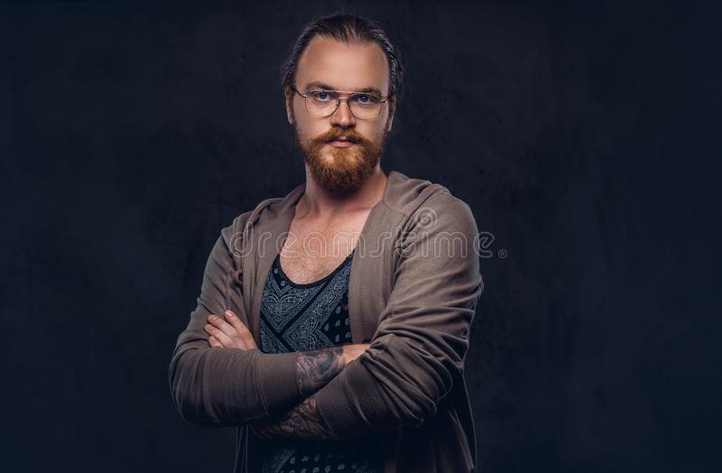 Portrait of a redhead hipster male dressed in casual clothes with glasses and full beard, standing with crossed arms in. A studio. Isolated on a dark background royalty free stock photo