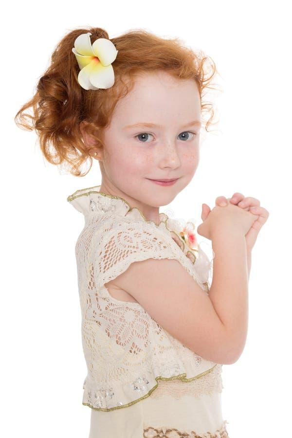 Portrait redhead little girl stock image