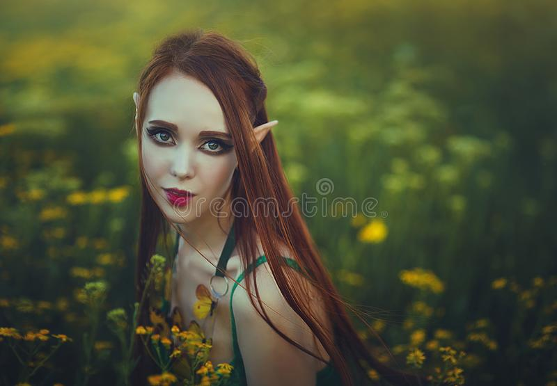 Portrait of a redheaded girl elf in a green swimsuit posing in a clearing of yellow flowers. Fantastic young woman with royalty free stock photography