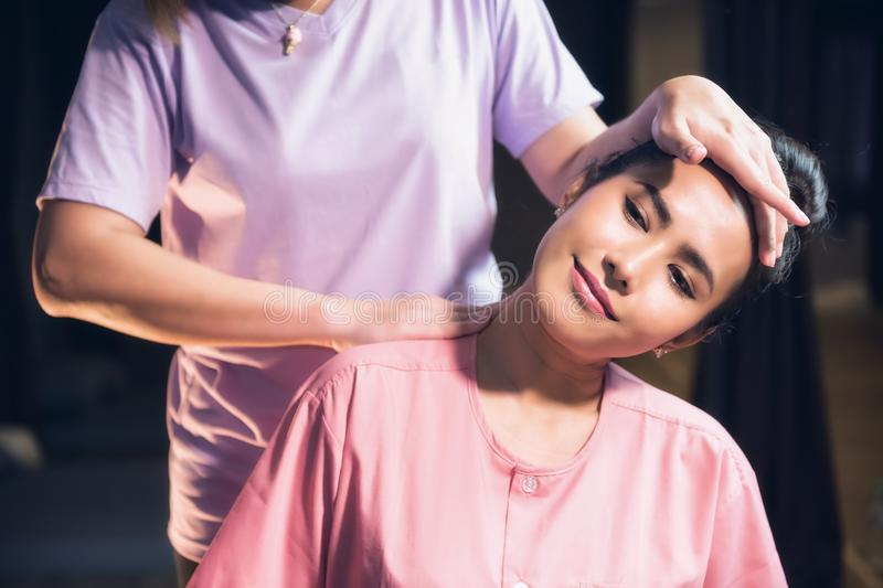 Thai neck and shoulder massage in spa royalty free stock photos