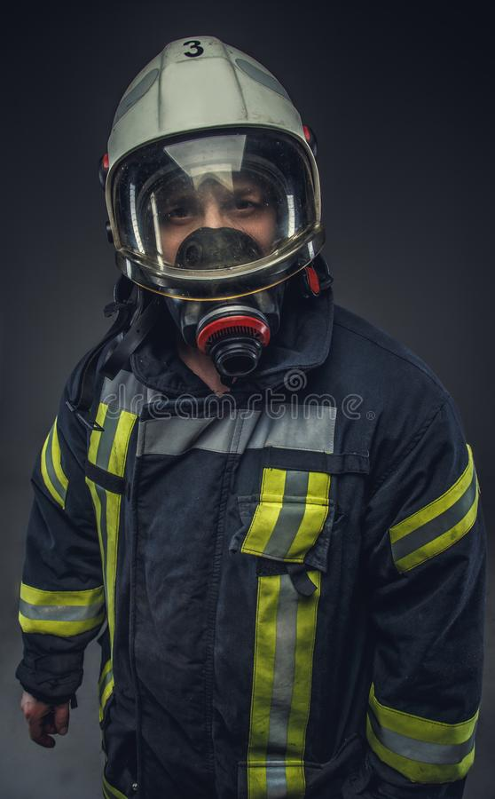 Portrait of rescue firefighter. stock photos