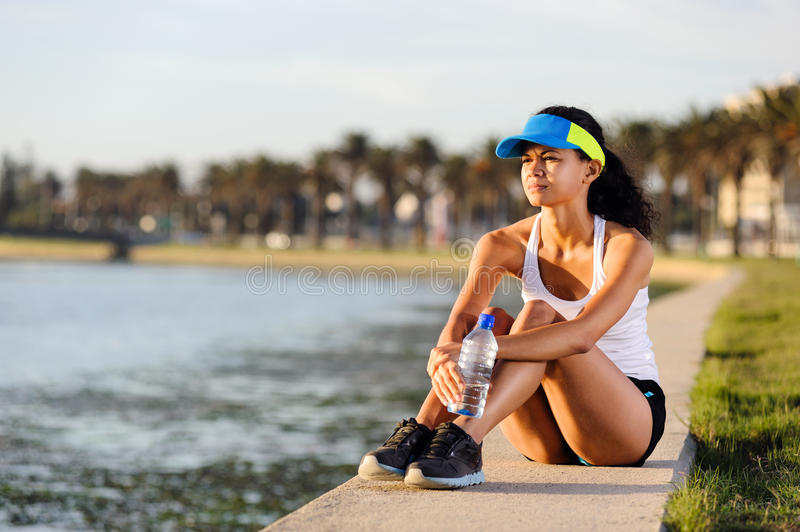 Portrait of resting runner royalty free stock photography