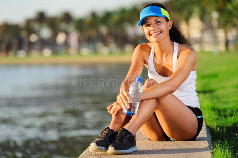 Portrait of resting runner royalty free stock photo