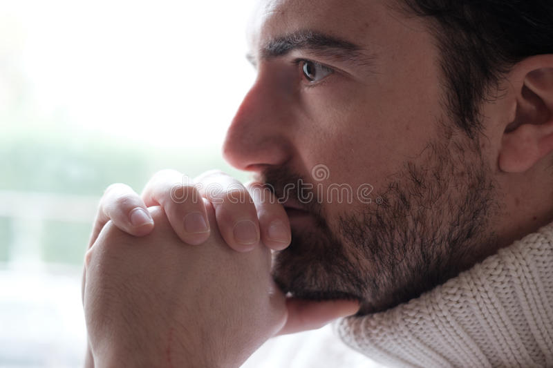Portrait of restless man face close up royalty free stock photos