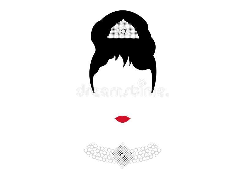 Portrait retrò woman, diva with Pearl jewelry, minimal Audrey illustration stock illustration