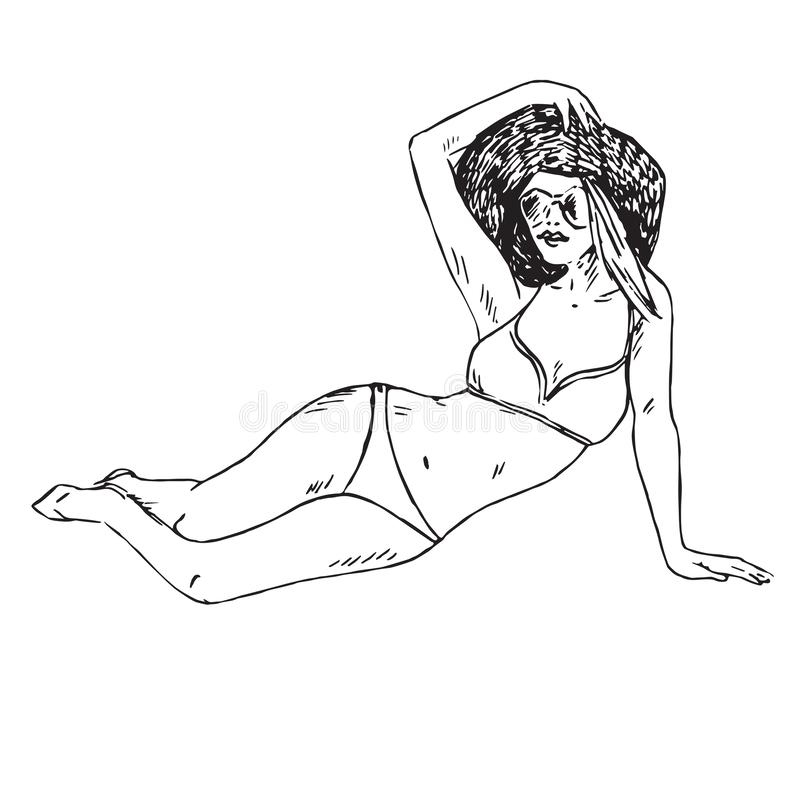 Portrait of retro pin up girl in bikini, hat and sunglasses sitting, hand drawn outline doodle, sketch vector illustration