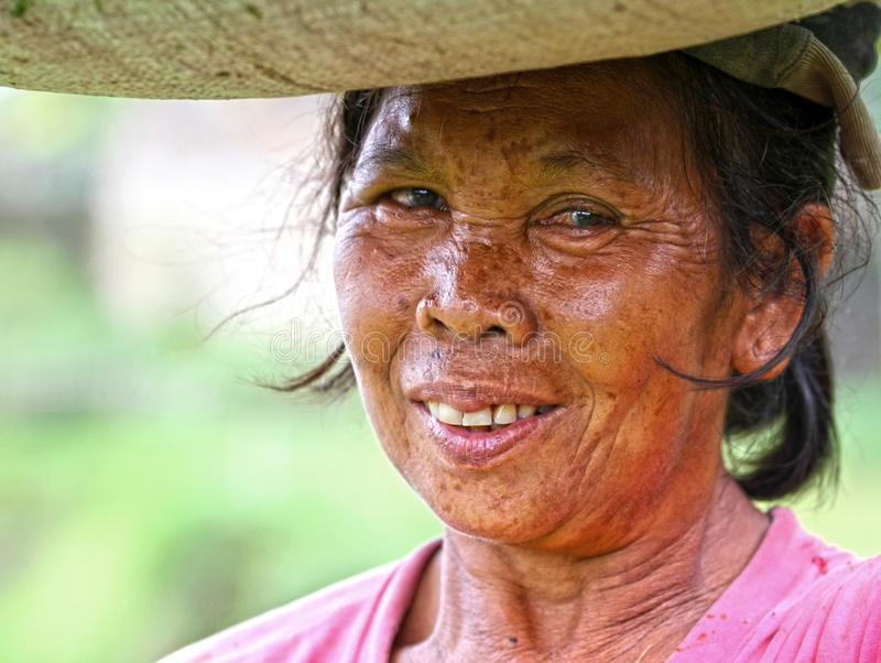 PORTRAIT OF RICE FIELD WORKER IN BALI royalty free stock photos