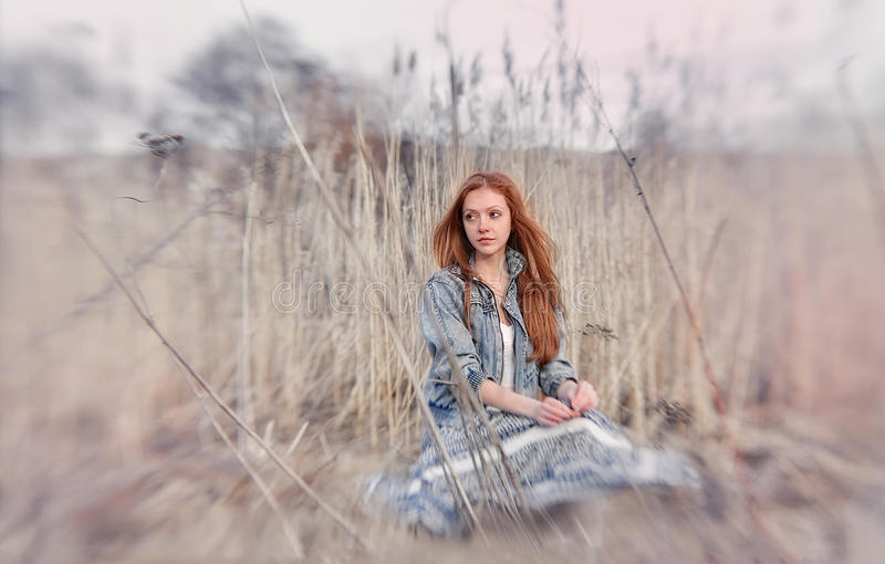 Portrait of romantic woman in fairy forest royalty free stock photos