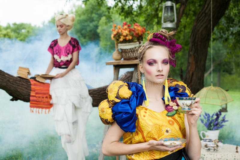 Download Portrait Of Romantic Women In Fairy Forest Stock Image - Image: 27781351