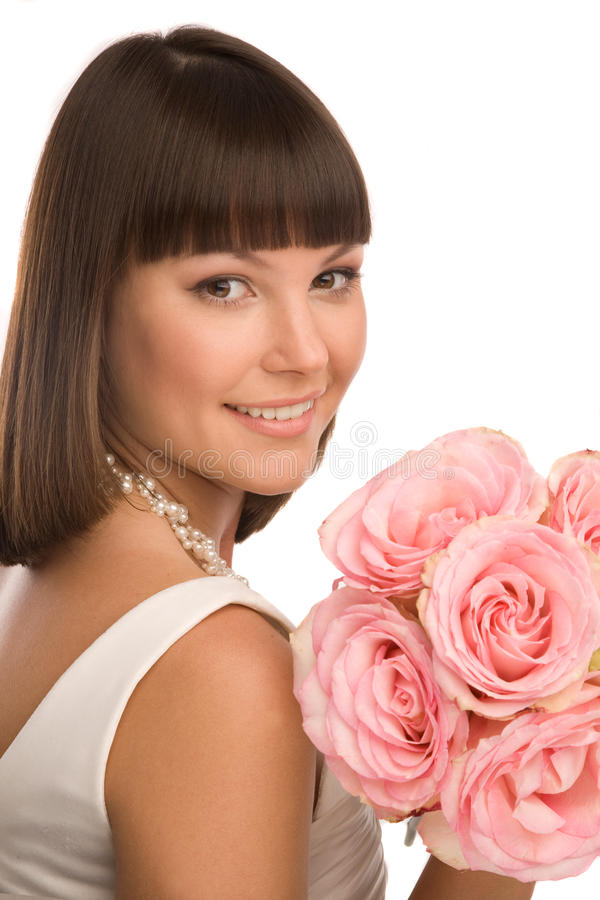 Download Portrait with the roses stock image. Image of sensuality - 27898441