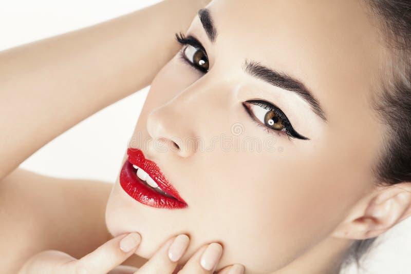Portrait rouge de beauté de lèvres image stock