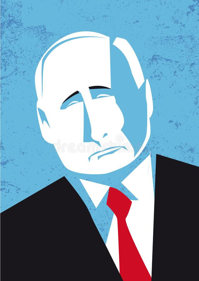 Portrait of Russian president Vladimir Putin, vector illustration royalty free illustration