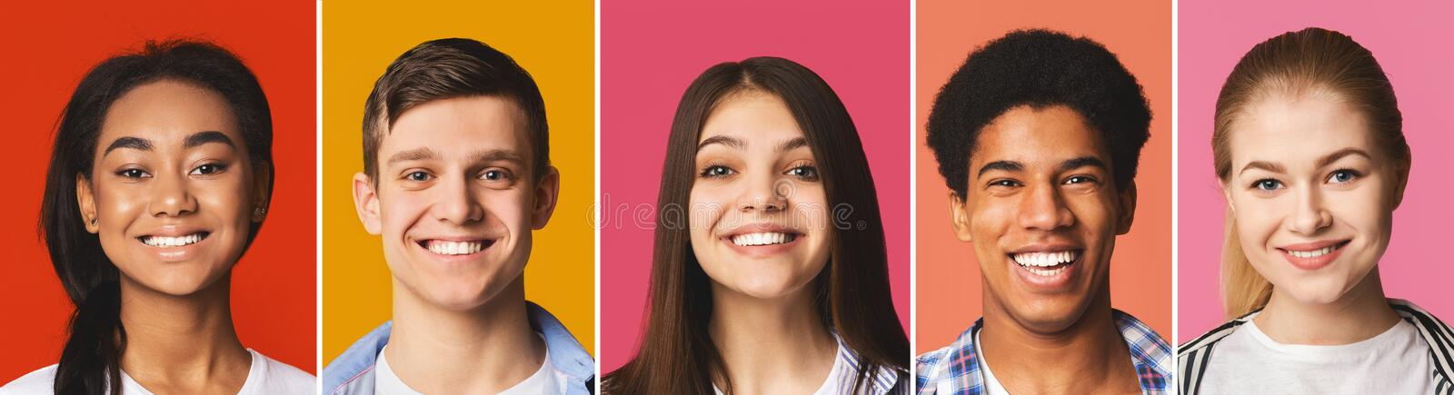 Portrait`s collage. Diverse teens smiling at colorful backgrounds stock photos
