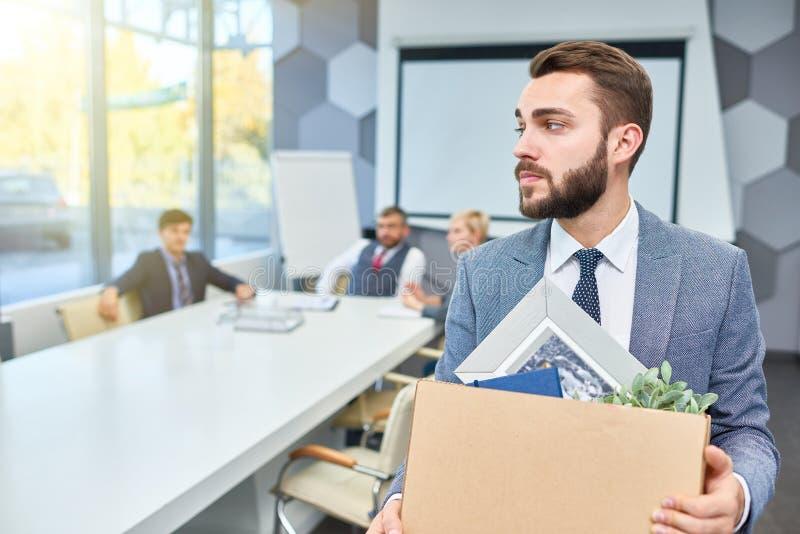 Bearded Businessman Leaving Job stock photo