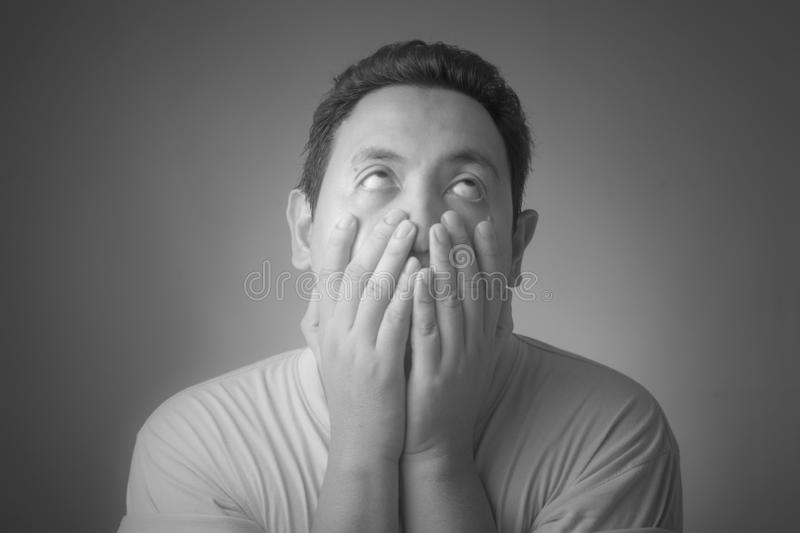 Depressed Man Covering His Face royalty free stock images