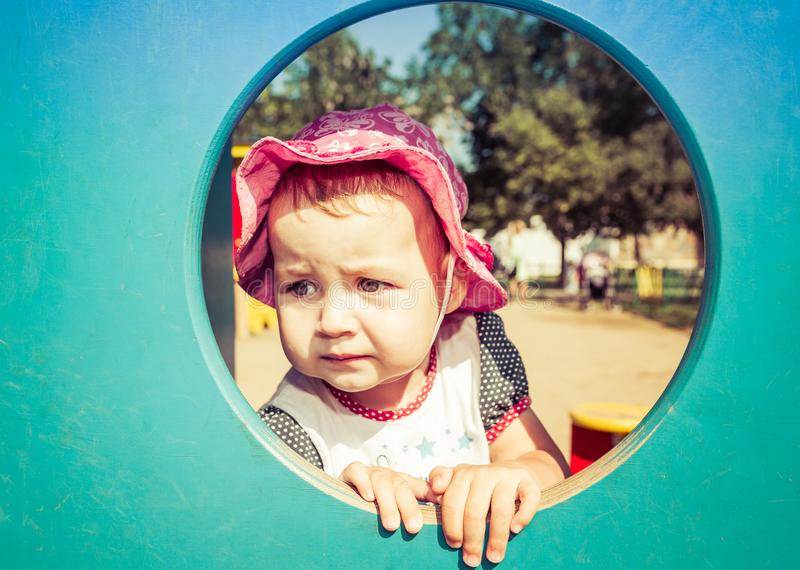 Portrait of a sad little baby stock images