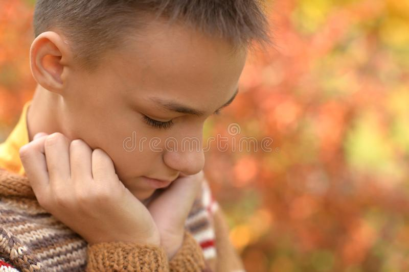 Portrait of a sad little boy outdoors royalty free stock images