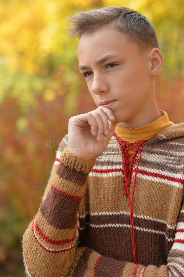 Portrait of a sad little boy outdoors royalty free stock photography