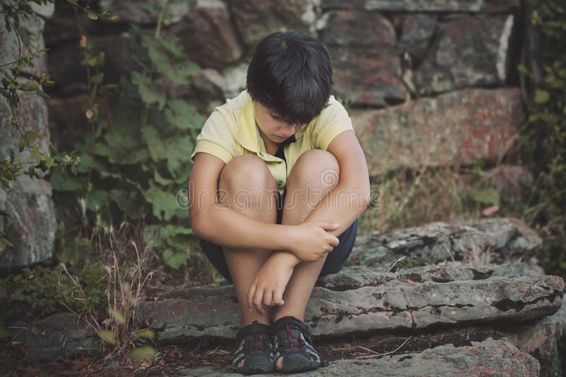 Portrait of sad little boy stock photography