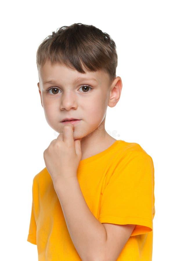 Portrait of a sad little boy royalty free stock photography