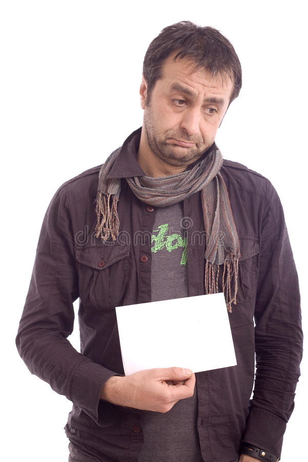 Portrait of a sad looking man stock photo