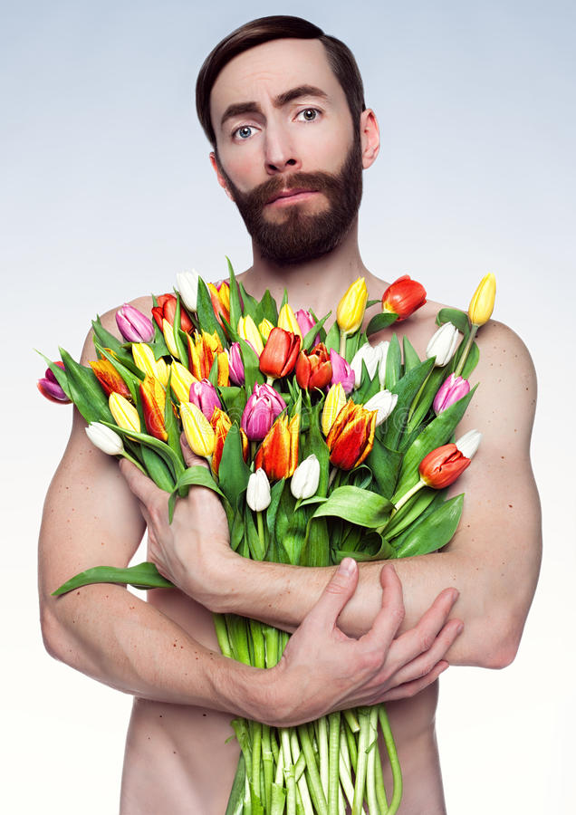 Portrait Of Sad Man With Flowers. Stock Image - Image of looking ...