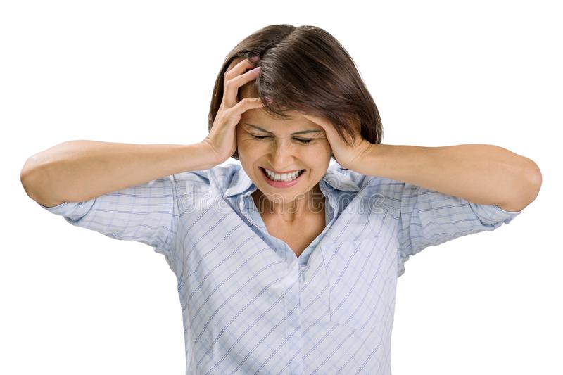 Portrait of sad mature woman, closed eyes and ears, screaming in despair, white background isolated. Facial expression, reaction a. Nd negative emotions royalty free stock photos