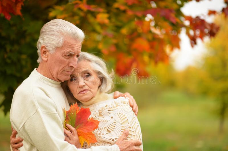 Portrait of sad senior couple in autumn park royalty free stock images