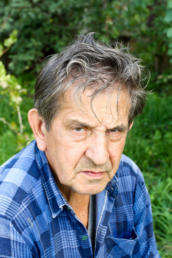 Portrait of a sad senior man stock images