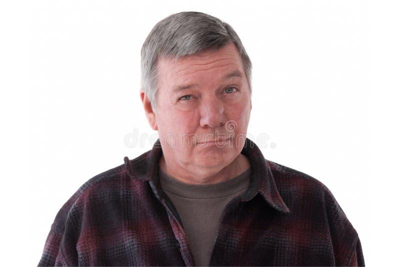 Portrait of sad senior man, isolated on white. royalty free stock images