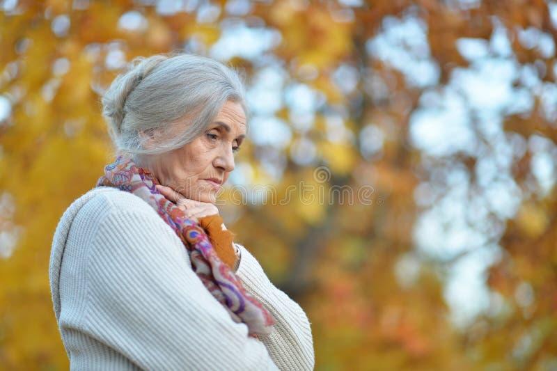 Portrait of sad senior woman in autumn park stock photo