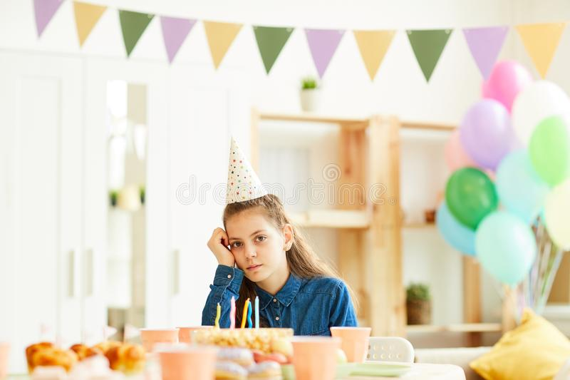 Lonely Girl at Party royalty free stock photography