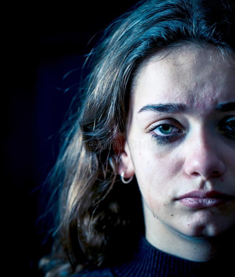 Portrait of sad, unhappy young girl crying. Helpless, depressed royalty free stock photos