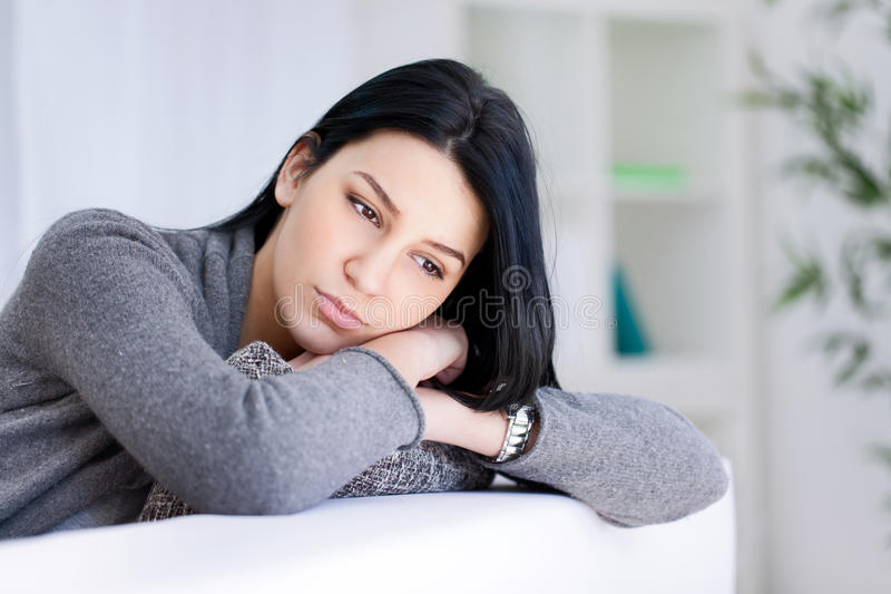 Portrait of a sad woman royalty free stock photo