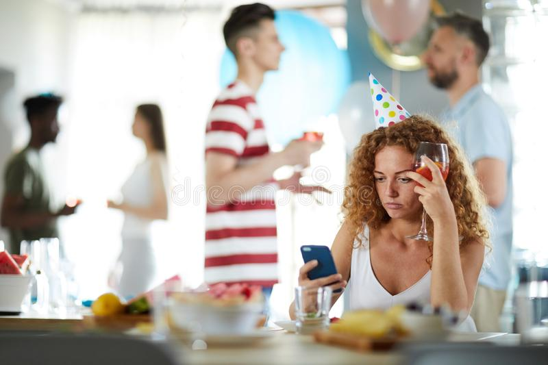 Frustrated Woman at Party stock image