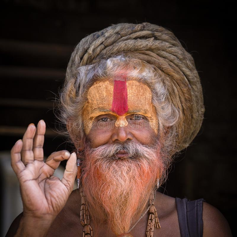 Portrait Sadhu at Pashupatinath Temple in Kathmandu, Nepal royalty free stock photo