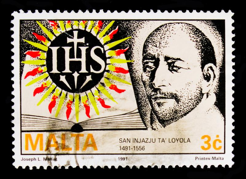 portrait of Saint Ignatius Loyola founder of Jesuits 800th birth anniv., Religious Commemorations serie, circa 1991 royalty free stock images