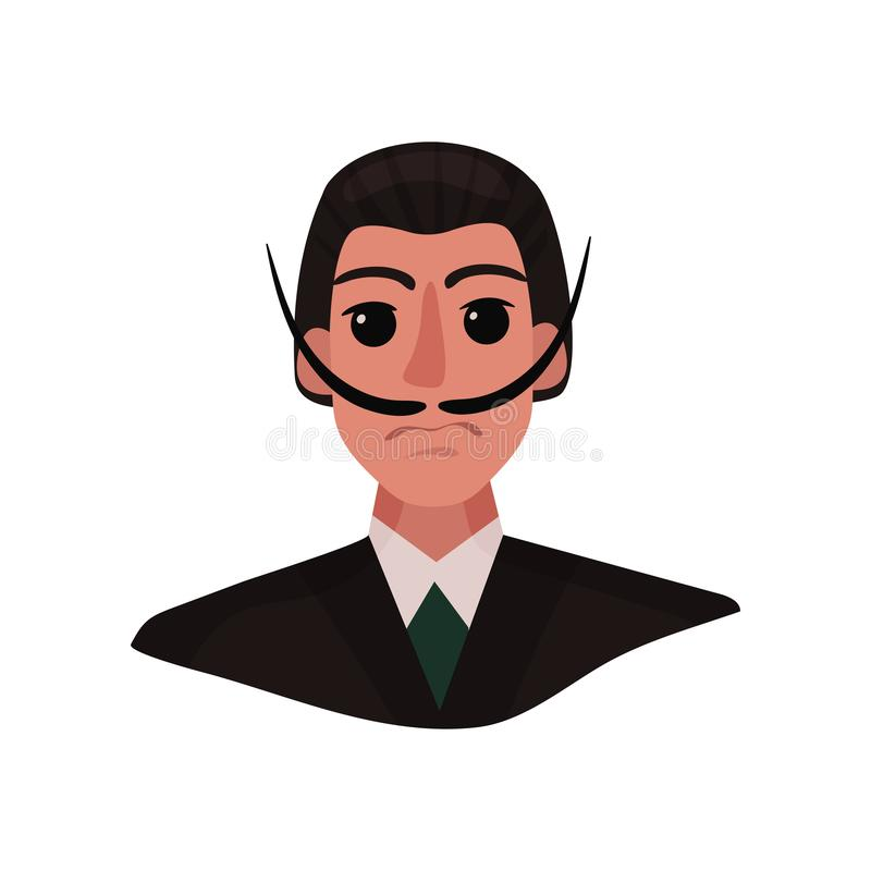 Portrait of Salvador Dali with long mustache and expressive eyes. Vector illustration on white background. Portrait of Salvador Dali with long mustache and royalty free illustration