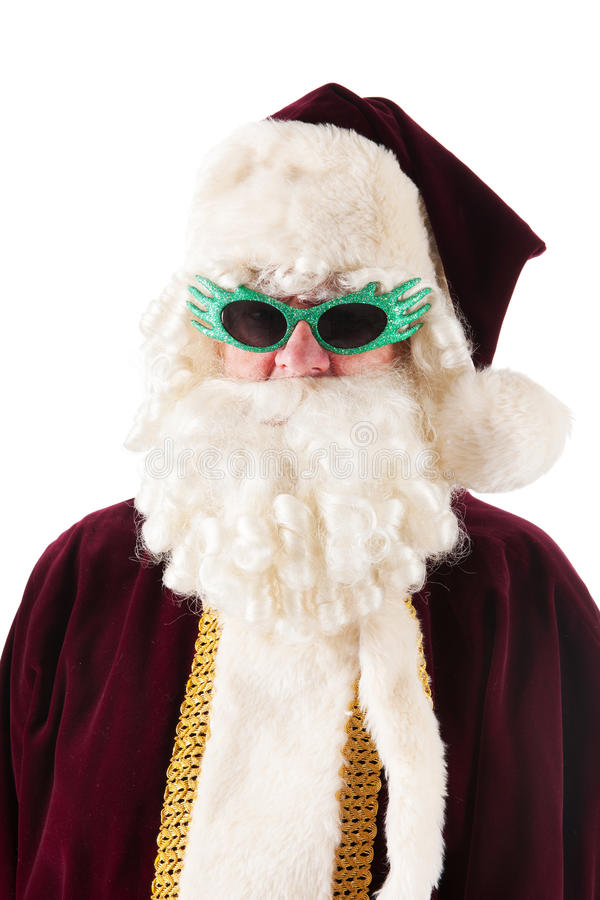Portrait Santa Claus with sunglasses. Portrait of the real Santa Claus with disco sunglasses royalty free stock photos