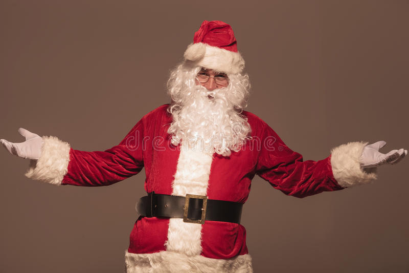 Portrait of Santa Claus welcoming you stock photos
