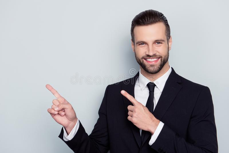 Portrait of satisfied stylish trendy fashionable cheerful excite stock photo