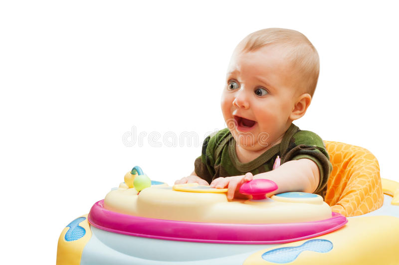 Portrait of scared screaming baby stock images