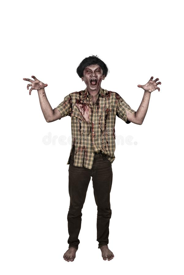 Portrait of scary asian zombie man hand with a claw standing stock photo