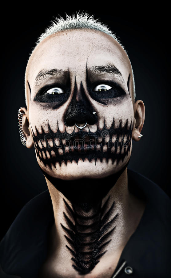 Portrait of a scary fierce staring male with skull makeup and piercings on a black background. 3d rendering. Portrait of a scary fierce staring male with skull royalty free stock image