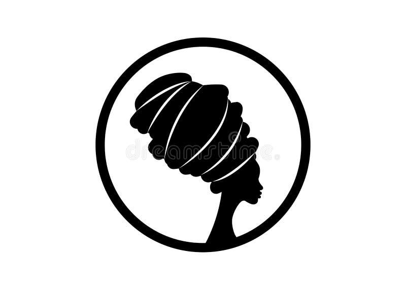 Portrait schöne afrikanische Frau in traditionellem Turban, schwarze Frauen Vektor Silhouette isoliert , rund Logo Design Frisur  lizenzfreie abbildung