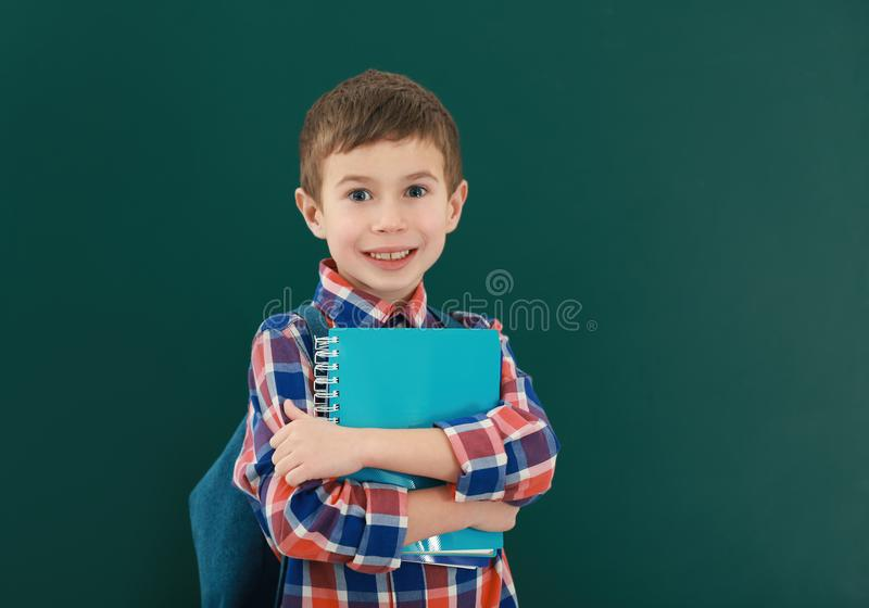 Portrait of schoolboy on background stock photo