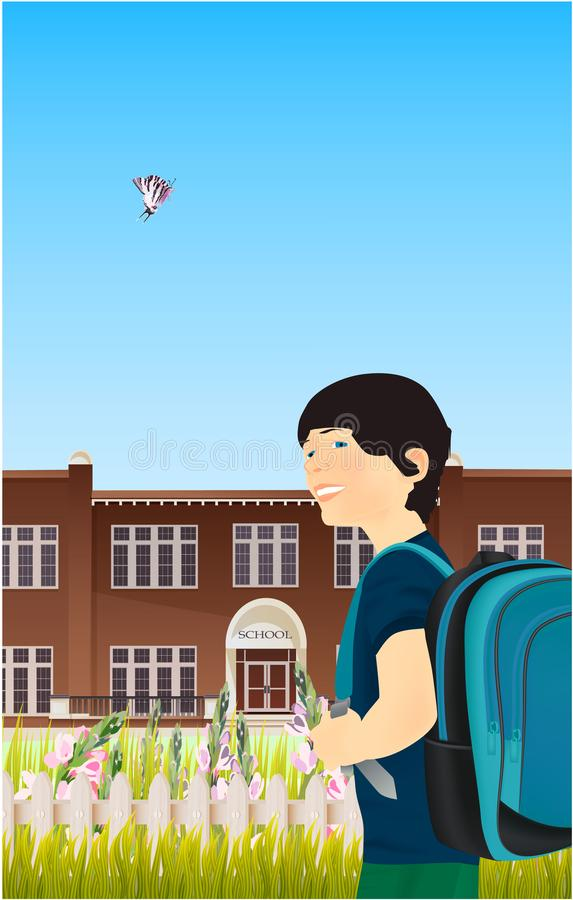 Portrait of schoolboy with a backpack in nature vector illustration