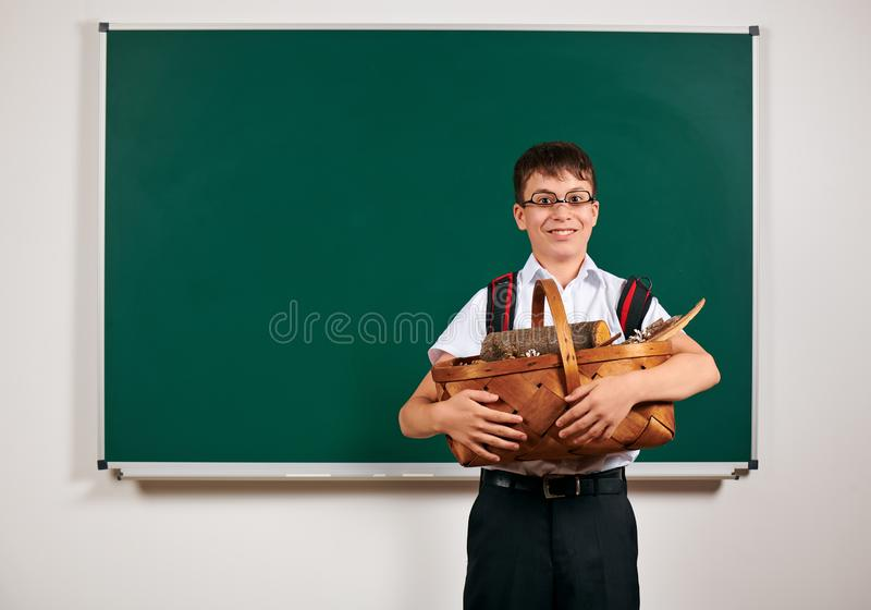 Portrait of a schoolboy with basket of firewood near blackboard background - back to school and education concept royalty free stock images