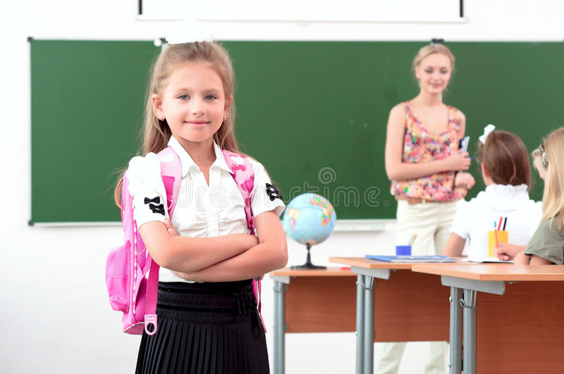 Download Portrait Of Schoolgirl With Backpack Stock Images - Image: 26861254