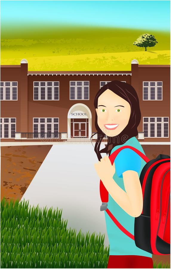 Portrait of schoolgirl with a backpack in nature stock illustration